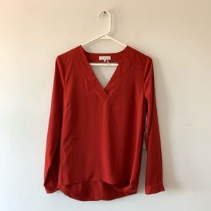 1. State V-Neck Draped Back Blouse Top Rust Small